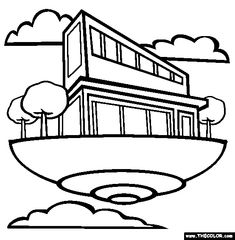 Floating Home Coloring Page | Free Floating Home Online Coloring