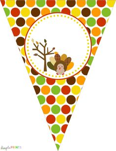 free printable set: Thanksgiving Turkey Party by Dimple Prints...HUGE 125 page set of printables--garlands, circle toppers, signs, banners, hats, favor tags, cupcake wrappers, French fry boxes, favor boxes, water bottle wraps, invites, thank you cards and LOTS of printable papers...polka dots, plaid and stripes