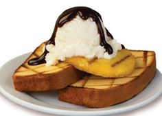 Grilled Pound Cake w/Ice Cream, Pineapple and Chocolate Drizzle. Whaaaattt!!