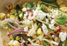 Charred Corn Tacos with Radish Zucchini Slaw Recipe