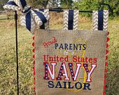 Custom Burlap Garden Flag - Proud Parents of United States Navy Sailor - Matching Chevron Tabs and Bow