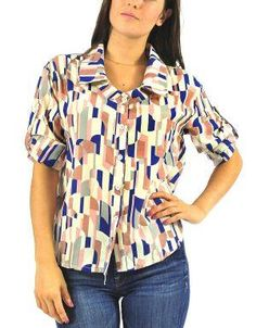 (CLICK IMAGE TWICE FOR DETAILS AND PRICING) Retro Print Collared Blouse Beige. A modern spin on the classic collared shirt, this top has it all with a retro print, high-low hem and roll up sleeves.. See More Tops at http://www.ourgreatshop.com/Tops-C74.aspx