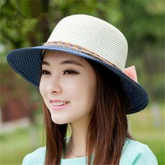 Wear in summer straw sun hats for ladies bow