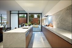 modern kitchen with long counters