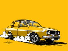 Renault 12 Gordiny by Fabrice Staszak – https://www.behance.net/fabsta  #yellow #CartoonCar