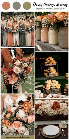 Dusty Orange + Grey Wedding: grey bridesmaid dresses, dusty orange dresses, grey table cloth with flowers decoration, mason jars #weddings #weddingideas #bridesmaiddresses #fallweddings #2020
