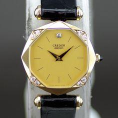 【買取】SEIKO(セイコー) 8420-5160 クレドール クオーツ K18 ダイヤ カーフ レディース ゴールド文字盤時計/18金無垢にダイヤがあしらわれたケースは大変美しいデザインです。/専門鑑定士があなたの商品を高額査定!全国どこでも自宅にいながら申込から買取まで完了します♪