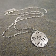 Sweet Sterling Silver Flower Layering Necklace by CamileeDesigns,