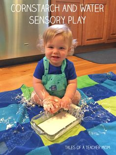 Cornstarch and water sensory play for one year old