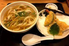Fresh house-made noodles with shrimp squash sweet potato and shiso tempura [4032x2684] #food #tasty