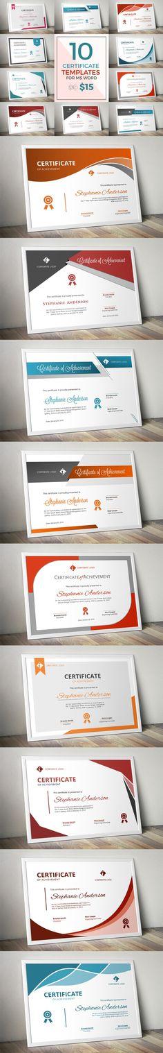 10 modern certificate docx bundle. Stationery Templates. $15.00