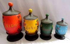 Vintage 70s Ceramic Canister Set of 4 Japan Kitsch Kitchen Pedestal Gifts World