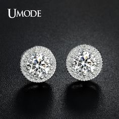 1cf8bc1fbda UMODE White Gold Color Micro Round CZ Crystal Stud Earrings for Women  Jewelry Fashion Boucle D