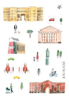 Zhukovsky city Illustration by Toma Kurkova