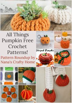 All things Pumpkin free crochet pattern roundup at Nana's Crafty Home. Get in the mood for Fall with these pumpkin themed patterns! Crochet Pumpkin Pattern, Halloween Crochet Patterns, Vintage Crochet Patterns, Crochet Stitches Patterns, Crochet Designs, Knit Stitches, Vintage Knitting, Stitch Patterns, Knitting Patterns