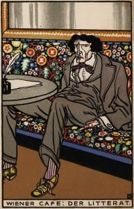 Moriz Jung. Viennese Café: The Man of Letters Chromolithograph, 1911. The Leonard A. Lauder Collection.