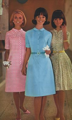 Dresses ♥ 1966 day dress pink white gingham blue yellow floral solid belt hair shoes models mid 60s MCM mid century casual wear