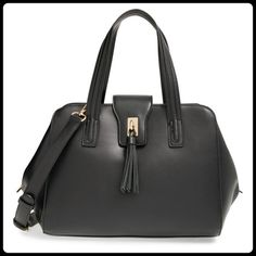 """Black Tasseled Faux Leather Satchel Like new! Only used a couple of weeks. Price tag still attached inside (see pic). Selling because I wanted a smaller satchel. A refined (& luxuriously soft) vegan leather structured satchel for work & beyond. This features 2 top handles, a tassel accent along the fold-over flap & a zipper top closure. Includes a removable crossbody strap & metal feet at the bottom. Vegan Leather. Dimensions: 10""""H x 13""""W x 5 1/2""""D. Handle Drop: 7 1/2"""" Strap Drop: 23""""…"""
