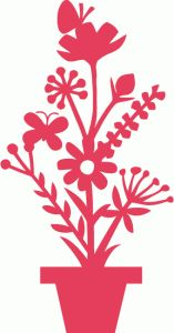 Silhouette Design Store - View Design pot of flowers Silhouette Cameo, Silhouette Online Store, Silhouette Portrait, Silhouette Design, Fabric Flowers, Paper Flowers, Free Stencils, Cut Image, Papercutting