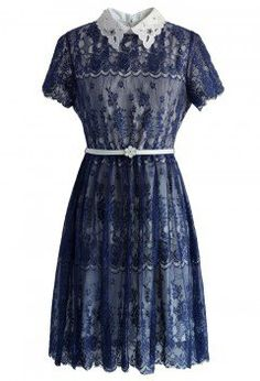 Chicwish - Delicate Lace Dress with Beads Collar in Navy