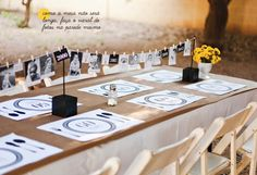 table with photos, for a family dinner