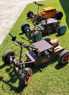 Custom Golf Carts, Custom Trucks, Custom Bikes, Mini Motorbike, Mini Bike, Rat Rod Pickup, Pickup Trucks, Rat Rod Build, Homemade Go Kart