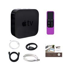 Apple TV® 64GB 4th Generation with Siri Remote and Gel Sleeve, HDMI and Ethernet Cables, and 1-Year Tech Support - Purple