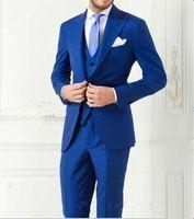 Royal Blue Two Button Groom Tuxedos Process Lapel Men's Wedding Dresses Prom Clothing Groomsman Suits (Jacket+pants+vest+tie)