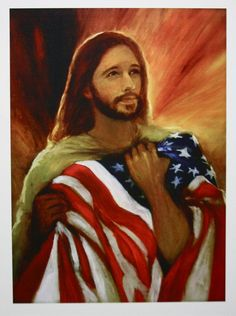 Jesus and the Flag by ChristianArtPainting on Etsy, $20.00