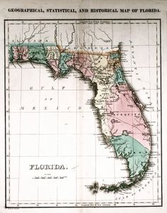 1940 Antique FLORIDA Map Vintage State Of Florida Gallery Wall