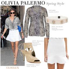 Olivia Palermo mit weißem Mini-Rock und legerer Print-Bluse