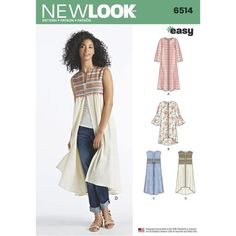 Misses' duster and vest pattern is easy to sew and offers sleeve and hemline variations for multiple ways to make it unique. New Look sewing pattern New Look Patterns, Summer Patterns, Sewing Patterns Free, Blouse Sewing Pattern, Simplicity Sewing Patterns, Clothes Patterns, Love Sewing, Sewing For Kids, Vest Pattern