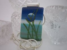 Beach Grass and Moon Pendant Necklace by PohdDesign on Etsy