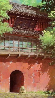 Scenes from The Journey of Chihiro, by Ghibli Studio THEC . - Spirited Away by Ghibli Studio Art Studio Ghibli, Studio Ghibli Movies, Scenery Wallpaper, Landscape Wallpaper, Hayao Miyazaki, Spirited Away Wallpaper, Spirited Away Art, Studio Ghibli Spirited Away, Studio Ghibli Background