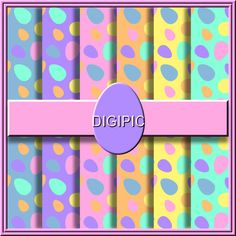 COMMERCIAL USE OK 6 Digital Pastel Easter Egg Scrapbook Papers, 12x12  300Dpi Instant Download