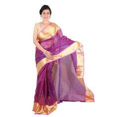 Chanderi Purple Saree with Fancy Pallu ₹7,956.00 Shop -> https://goo.gl/qoLmv5 #chanderisarees #Online #FreshFashion #ShopMore #SaveMore #GreatDiscounts