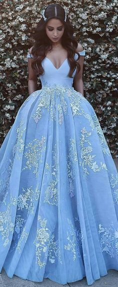 Wonderful Satin & Tulle Off-the-shoulder Neckline Ball Gown Evening Dresses With Beaded Lace Appliques NEW! Wonderful Satin & Tulle Off-the-shoulder Neckline Ball Gown Evening Dresses With Beaded Lace Appliques Prom Dresses 2018, Ball Dresses, Formal Dresses, 15 Dresses Blue, Pink Ball Gowns, Quinceanera Dresses Blush, Debut Dresses, Beaded Dresses, Blue Evening Dresses