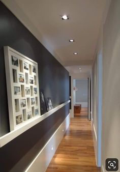 PROPORTION: the lights on the ceiling that are lined in a single file make this hallway seem very long. The black wall across from the white wall adds a very interesting trick to the eye and makes the hall open up. Flur Design, Sweet Home, Hallway Designs, Interior Decorating, Interior Design, Small Hallway Decorating, Home Projects, Interior Architecture, Lobby Interior