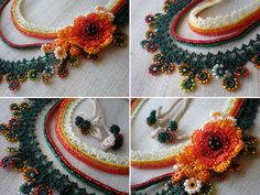 Tagetes Erecta ... Beaded Crochet Necklace by irregularexpressions