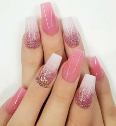 Best glitter nail designs 2019 Looking for something bling something extra glam to complete your outfits? Why not consider nail art with glitter! Whether coffin nails, short nails, almond. Nail Design Glitter, Silver Glitter Nails, Pink Nail Designs, Acrylic Nail Designs, Nails Design, Glitter Shoes, Coffin Nails Ombre, Pink Acrylic Nails, Pink Nails