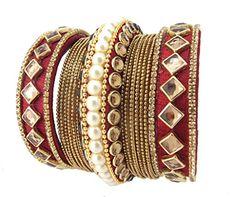 9blings Maroon Bridal Silk Thread 15 pc Pearl Kundan Gold Plated Bangle Chuda Silk Thread Bangles, Thread Jewellery, Beaded Jewelry, Diamond Jewelry, Wedding Jewelry, Wedding Chura, Gold Plated Bangles, Jewelry Patterns, Indian Jewelry