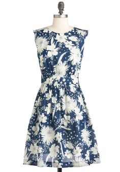Too Much Fun Dress in Bouquet by Emily and Fin - Blue, White, Floral, Party, A-line, Sleeveless, Spring, Mid-length, Pockets