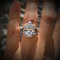 Pear Diamond Halo Engagement Ring in 18k White Gold