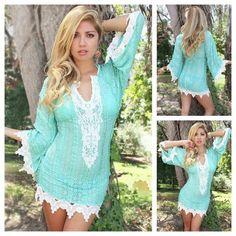 Cowgirl Gypsy Top Aqua & Cream Lace Trim Bell Sleeve Western Mini Dress Tunic Top Beach Dress | Always About Horses