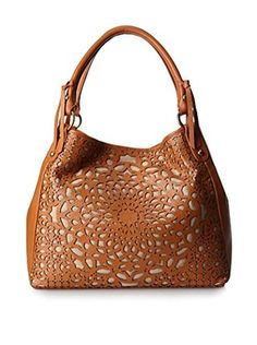 Isabella Fiore Women's Laser Leather Tote, Cognac