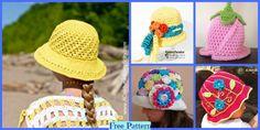 Summer Sun Hats - Free Crochet Patterns F Crochet Shark, Crochet Crocodile Stitch, Crochet Penguin, Crochet Unicorn, Crochet Baby Hats, Crochet Granny, Crochet Cactus, Crochet Girls, Unique Crochet