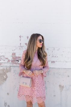 A Pink Lace Dress is the perfect option for Spring. This look is ideal for a bridal shower or wedding guest. See how to style this Pink Lace Dress here! Lace Outfit, Dress Outfits, Fall Outfits, Cute Outfits, Pink Dress, Lace Dress, Pink Lace, Pretty Dresses, Spring Fashion