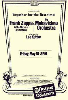 Mahavishnu Orchestra, Nassau Coliseum, Vintage Concert Posters, Music Sites, Old Advertisements, Frank Zappa, Progressive Rock, Rock Concert, Rock Posters