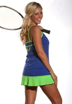 Center Court: Volley Tennis Skirt: Sport Blue With Lime Ruffle $48.00