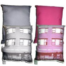Grocery deli corner pillows 2 colors front back
